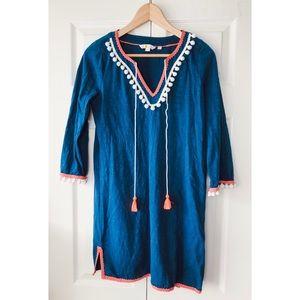 Boden blue pink pom pom beach cover up tunic dress